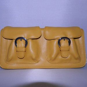 New AVON Yellow Twin Buckle Clutch Cosmetic Access